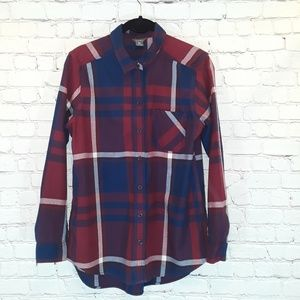 Eddie Bauer red & blue long-sleeve flannel sz M